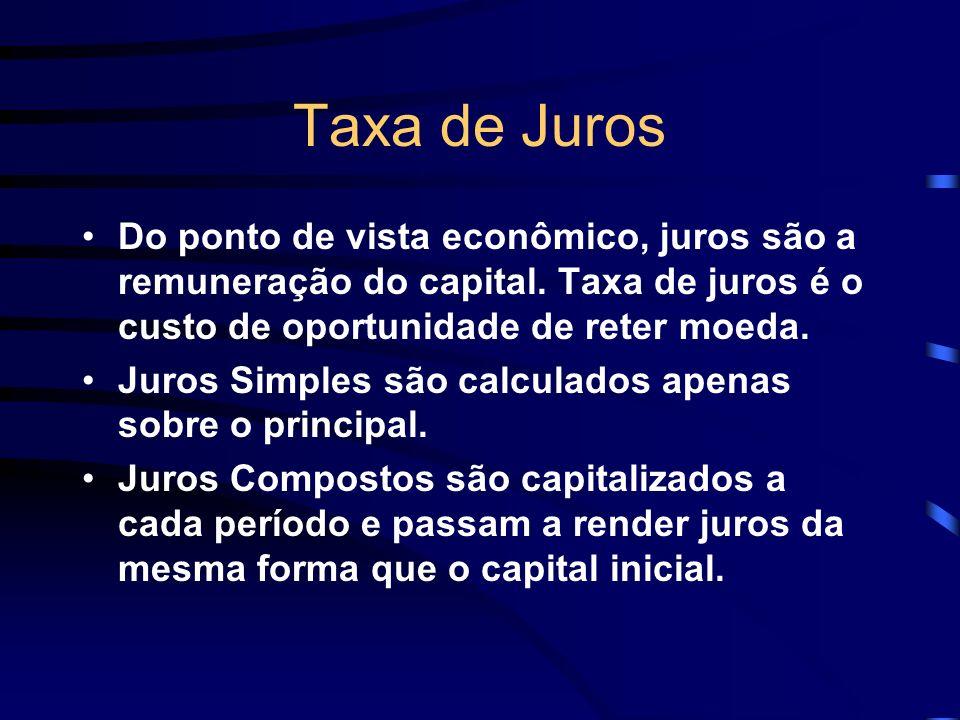 Taxa de Juros Do ponto de vista econômico, juros são a remuneração do capital. Taxa de juros é o custo de oportunidade de reter moeda. Juros Simples s