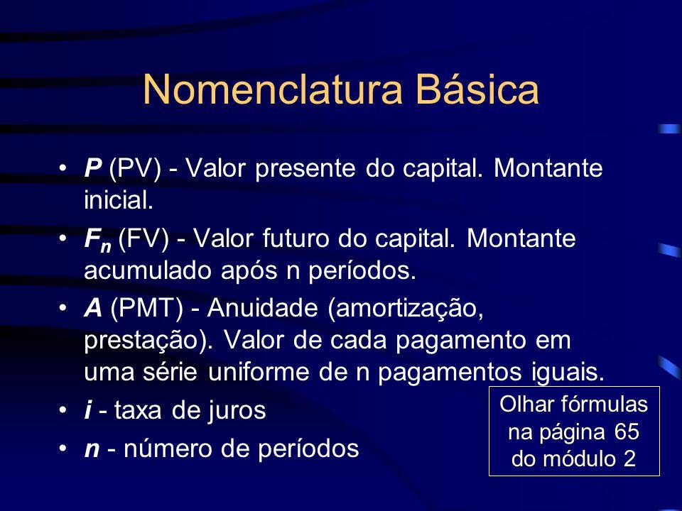 Nomenclatura Básica P (PV) - Valor presente do capital. Montante inicial. F n (FV) - Valor futuro do capital. Montante acumulado após n períodos. A (P
