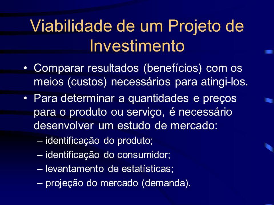 Viabilidade de um Projeto de Investimento Comparar resultados (benefícios) com os meios (custos) necessários para atingi-los. Para determinar a quanti