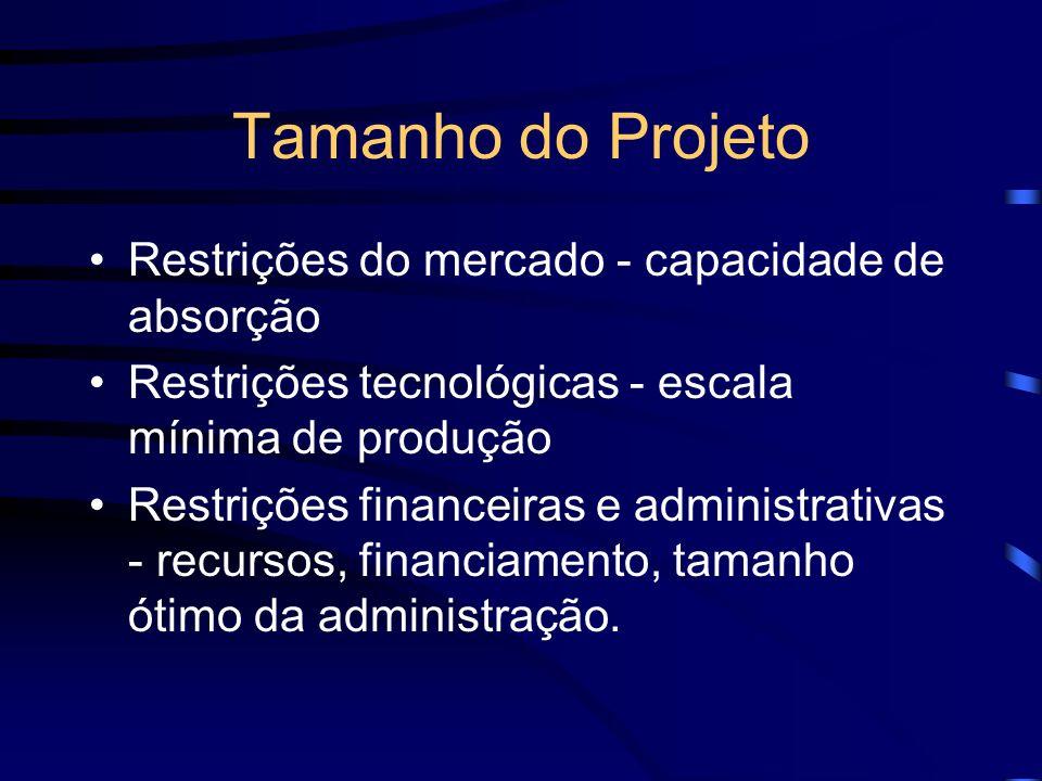 Tamanho do Projeto Restrições do mercado - capacidade de absorção Restrições tecnológicas - escala mínima de produção Restrições financeiras e adminis