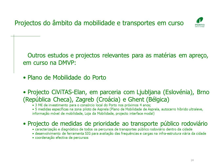 24 Projectos do âmbito da mobilidade e transportes em curso Outros estudos e projectos relevantes para as matérias em apreço, em curso na DMVP: Plano de Mobilidade do Porto Projecto CiViTAS-Elan, em parceria com Ljubljana (Eslovénia), Brno (República Checa), Zagreb (Croácia) e Ghent (Bélgica) 3 M de investimento para o consórcio local do Porto nos próximos 4 anos; 5 medidas específicas na zona piloto de Asprela (Plano de Mobilidade de Asprela, autocarro híbrido ultraleve, informação móvel de mobilidade, Loja da Mobilidade, projecto interface modal) Projecto de medidas de prioridade ao transporte público rodoviário caracterização e diagnóstico de todos os percursos de transportes público rodoviário dentro da cidade desenvolvimento de ferramenta SIG para avaliação das frequências e cargas na infra-estrutura viária da cidade coordenação efectiva de percursos