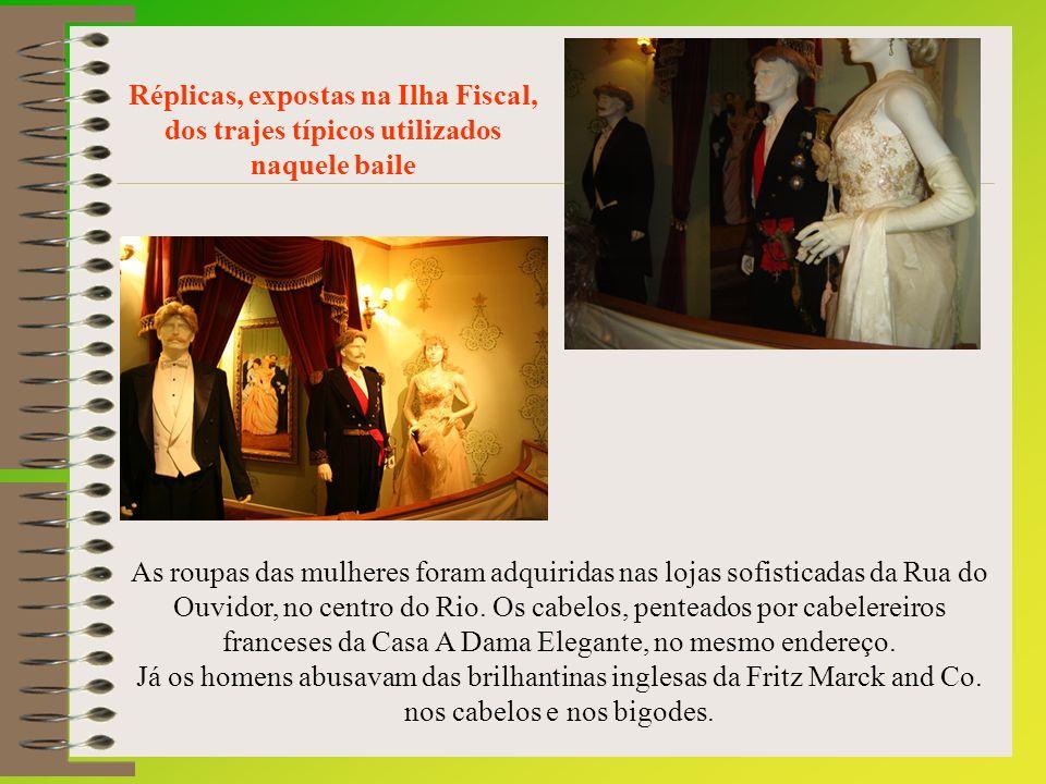 O guarda-roupa da imperatriz Tereza Cristina não chegou a causar impressão especial – trajava um vestido de renda de chantilly preta e guarnecido de vidrilhos.