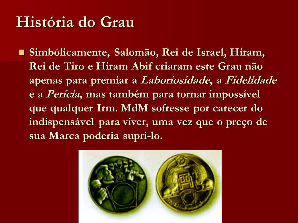 História do Grau Simbólicamente, Salomão, Rei de Israel, Hiram, Rei de Tiro e Hiram Abif criaram este Grau não apenas para premiar a Laboriosidade, a
