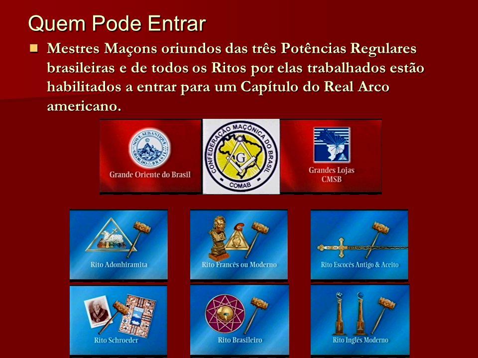 Quem Pode Entrar Quem Pode Entrar Mestres Maçons oriundos das três Potências Regulares brasileiras e de todos os Ritos por elas trabalhados estão habi