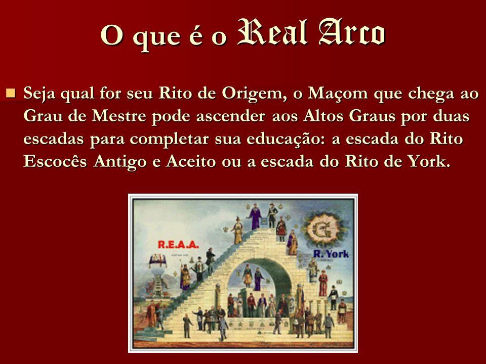 O que é o Real Arco Seja qual for seu Rito de Origem, o Maçom que chega ao Grau de Mestre pode ascender aos Altos Graus por duas escadas para completa