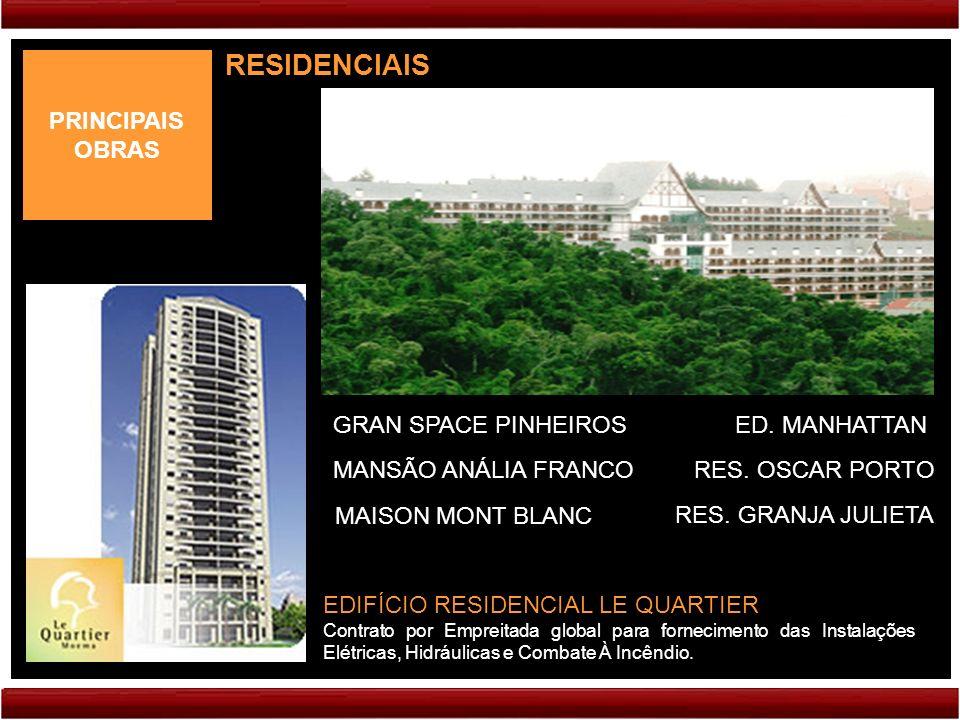 PRINCIPAIS OBRAS RESIDENCIAIS EDIFÍCIO RESIDENCIAL LE QUARTIER Contrato por Empreitada global para fornecimento das Instalações Elétricas, Hidráulicas