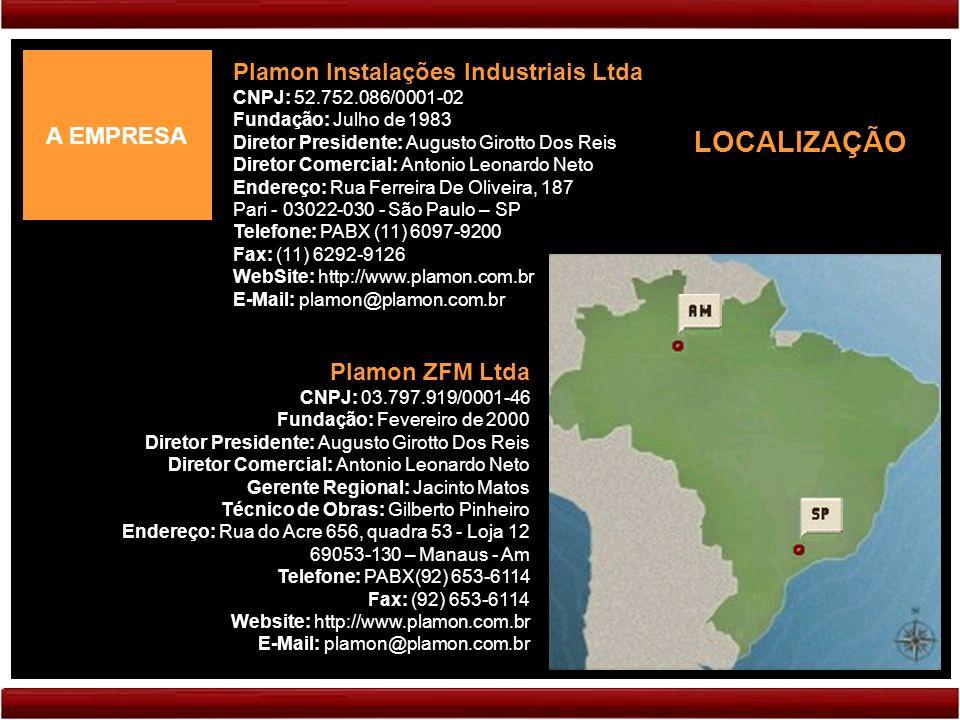 A EMPRESA Plamon Instalações Industriais Ltda CNPJ: 52.752.086/0001-02 Fundação: Julho de 1983 Diretor Presidente: Augusto Girotto Dos Reis Diretor Comercial: Antonio Leonardo Neto Endereço: Rua Ferreira De Oliveira, 187 Pari - 03022-030 - São Paulo – SP Telefone: PABX (11) 6097-9200 Fax: (11) 6292-9126 WebSite: http://www.plamon.com.br E-Mail: plamon@plamon.com.br Plamon ZFM Ltda CNPJ: 03.797.919/0001-46 Fundação: Fevereiro de 2000 Diretor Presidente: Augusto Girotto Dos Reis Diretor Comercial: Antonio Leonardo Neto Gerente Regional: Jacinto Matos Técnico de Obras: Gilberto Pinheiro Endereço: Rua do Acre 656, quadra 53 - Loja 12 69053-130 – Manaus - Am Telefone: PABX(92) 653-6114 Fax: (92) 653-6114 Website: http://www.plamon.com.br E-Mail: plamon@plamon.com.br LOCALIZAÇÃO