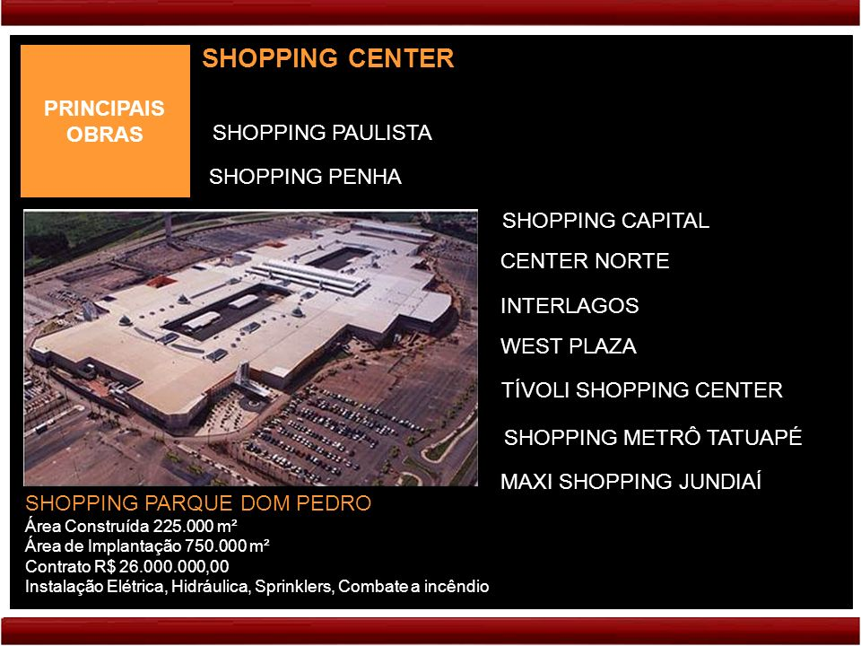 PRINCIPAIS OBRAS SHOPPING CENTER SHOPPING PARQUE DOM PEDRO Área Construída 225.000 m² Área de Implantação 750.000 m² Contrato R$ 26.000.000,00 Instalação Elétrica, Hidráulica, Sprinklers, Combate a incêndio CENTER NORTE INTERLAGOS SHOPPING CAPITAL SHOPPING PAULISTA SHOPPING PENHA WEST PLAZA TÍVOLI SHOPPING CENTER SHOPPING METRÔ TATUAPÉ MAXI SHOPPING JUNDIAÍ