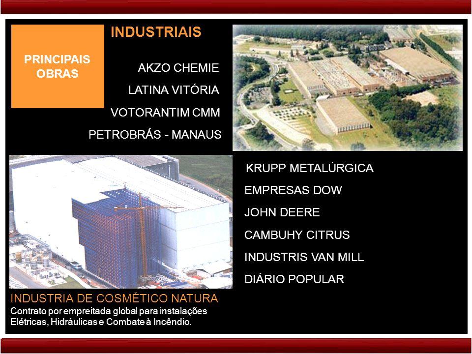PRINCIPAIS OBRAS INDUSTRIAIS VOTORANTIM CMM INDUSTRIA DE COSMÉTICO NATURA Contrato por empreitada global para instalações Elétricas, Hidráulicas e Com