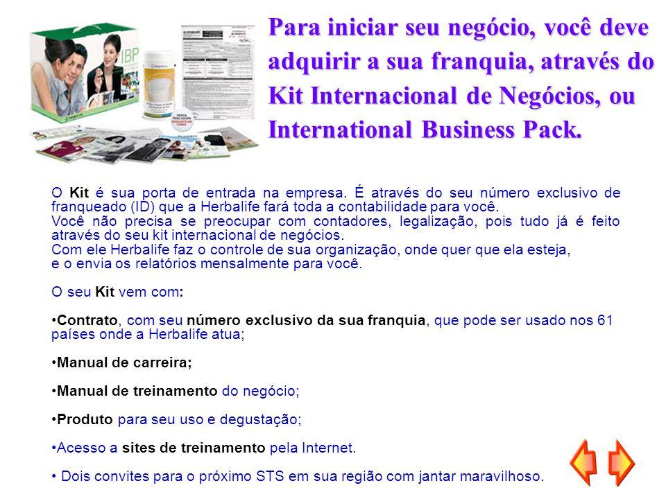 Para iniciar seu negócio, você deve adquirir a sua franquia, através do Kit Internacional de Negócios, ou International Business Pack. O Kit é sua por