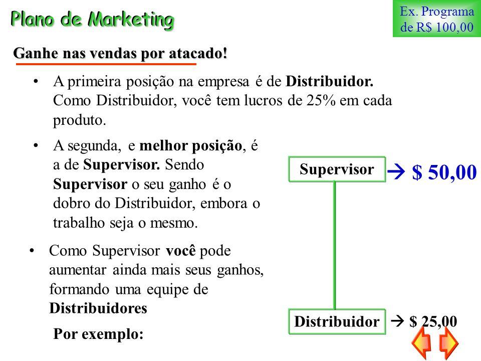 $ 25,00 Distribuidor Plano de Marketing Ganhe nas vendas por atacado! Supervisor $ 50,00 A segunda, e melhor posição, é a de Supervisor. Sendo Supervi