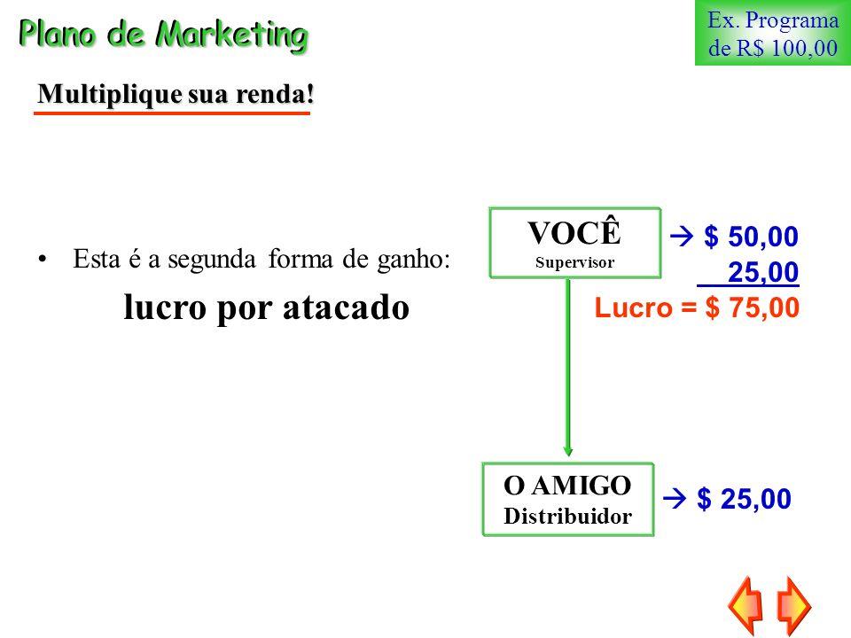 Plano de Marketing Multiplique sua renda! Esta é a segunda forma de ganho: lucro por atacado VOCÊ Supervisor $ 25,00 $ 50,00 O AMIGO Distribuidor 25,0