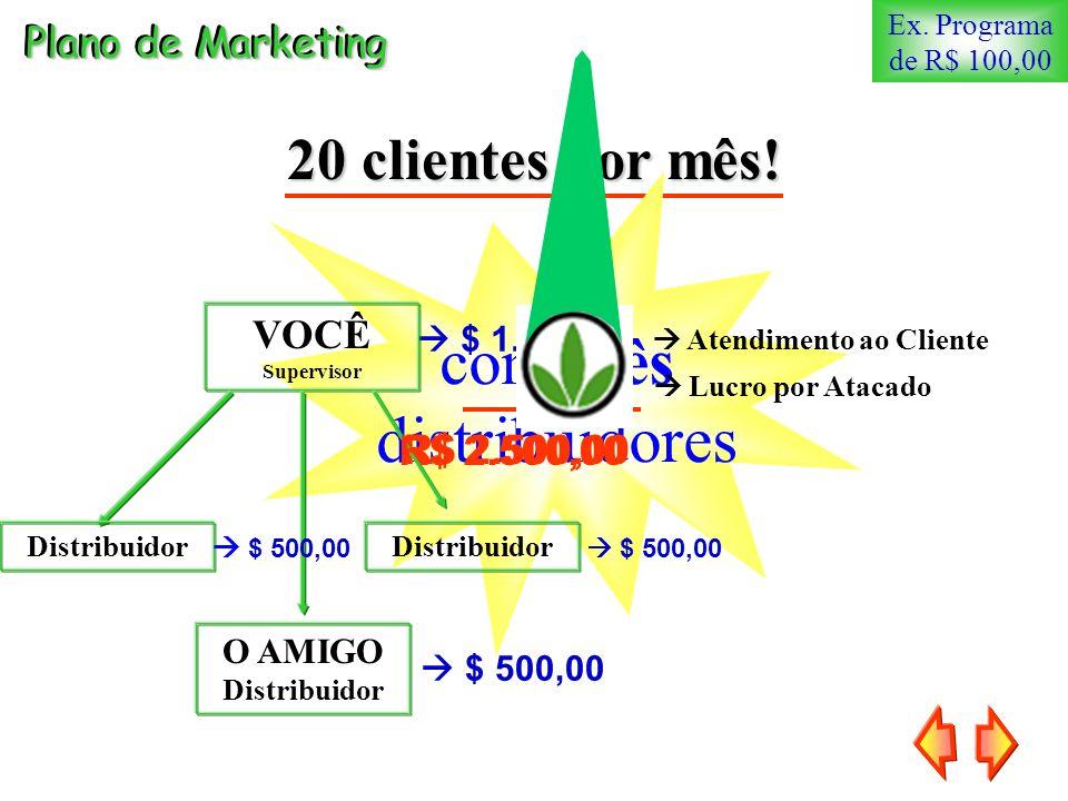 20 clientes por mês! Ex. Programa de R$ 100,00 1.500,00 com três distribuidores Plano de Marketing Lucro por Atacado R$ 2.500,00 $ 1.000,00 $ 500,00 V