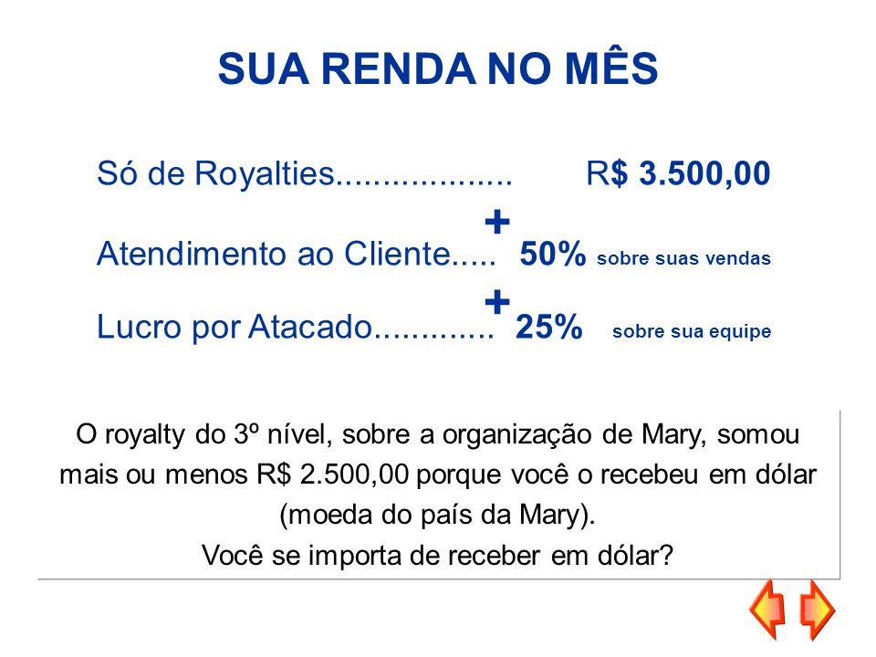 SUA RENDA NO MÊS Só de Royalties...................R$ 3.500,00 Atendimento ao Cliente.....50% sobre suas vendas Lucro por Atacado.............25% sobr