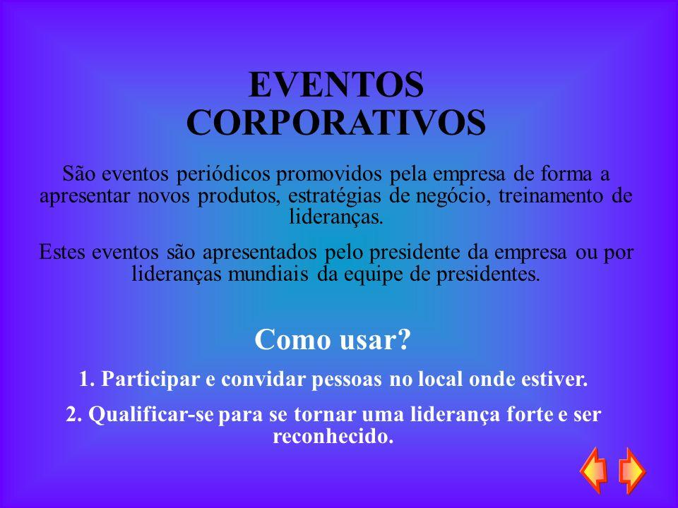 EVENTOS CORPORATIVOS São eventos periódicos promovidos pela empresa de forma a apresentar novos produtos, estratégias de negócio, treinamento de lider