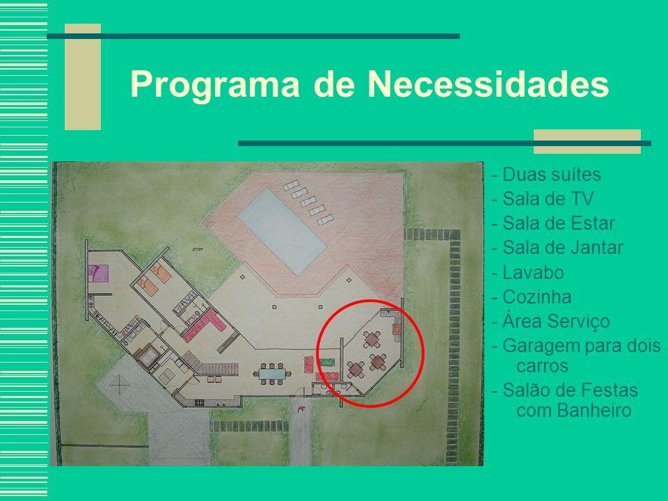 Programa de Necessidades - Duas suítes - Sala de TV - Sala de Estar - Sala de Jantar - Lavabo - Cozinha - Área Serviço - Garagem para dois carros - Sa
