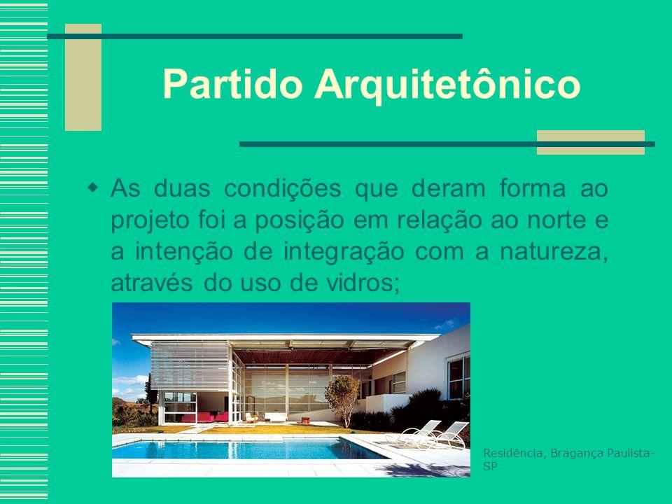 Partido Arquitetônico As duas condições que deram forma ao projeto foi a posição em relação ao norte e a intenção de integração com a natureza, atravé