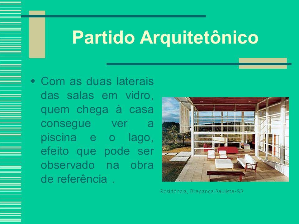 Partido Arquitetônico Com as duas laterais das salas em vidro, quem chega à casa consegue ver a piscina e o lago, efeito que pode ser observado na obr