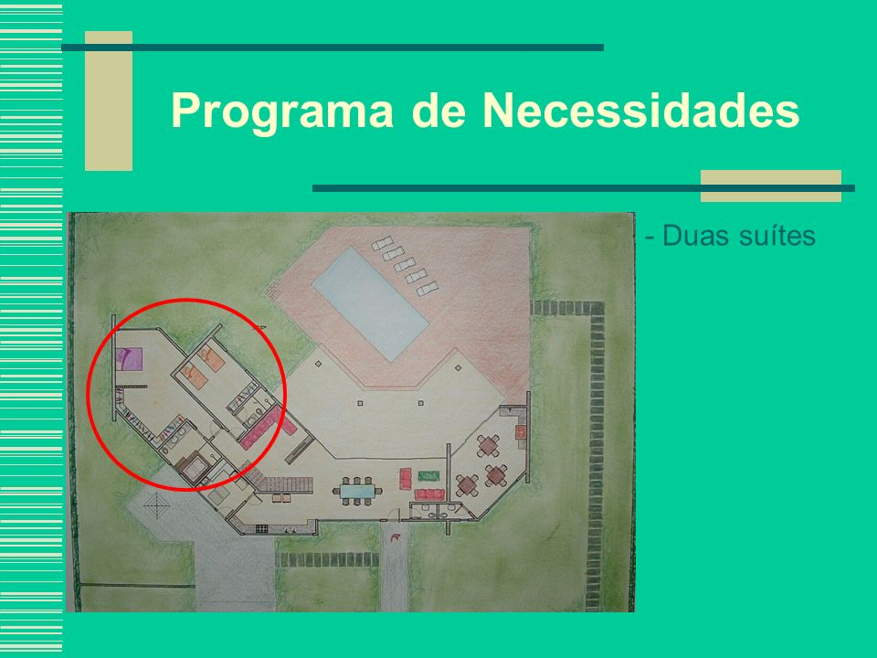 Programa de Necessidades - Duas suítes - Sala de TV