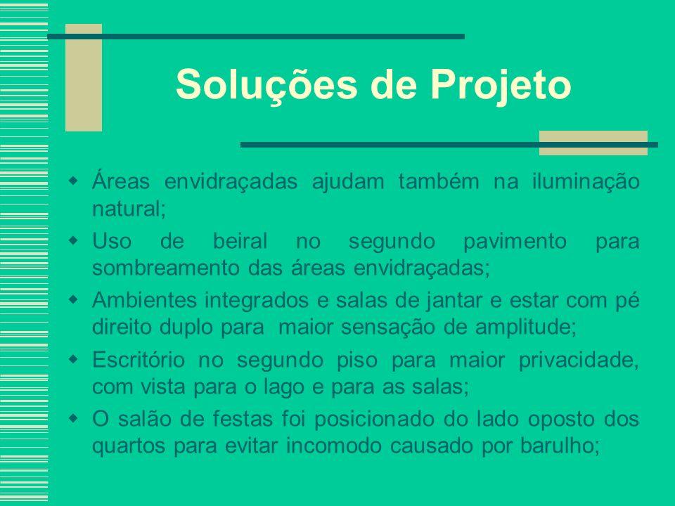 Soluções de Projeto Áreas envidraçadas ajudam também na iluminação natural; Uso de beiral no segundo pavimento para sombreamento das áreas envidraçada