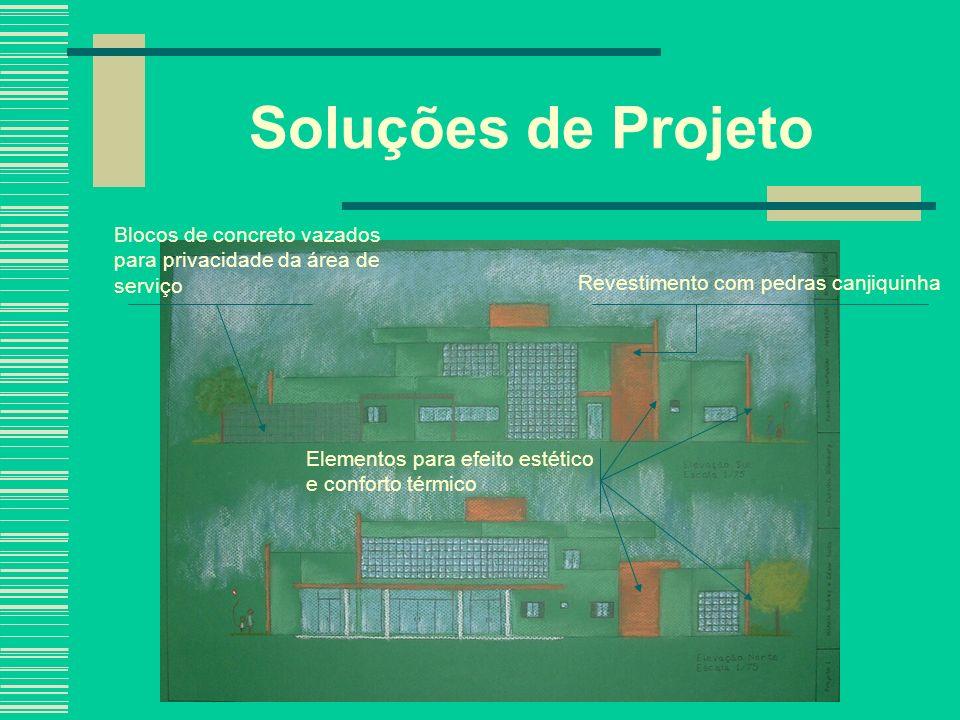 Blocos de concreto vazados para privacidade da área de serviço Revestimento com pedras canjiquinha Elementos para efeito estético e conforto térmico S