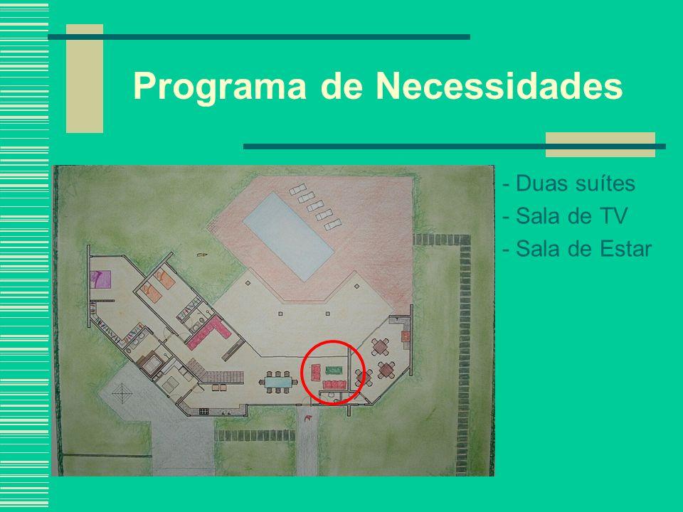 Programa de Necessidades - Duas suítes - Sala de TV - Sala de Estar