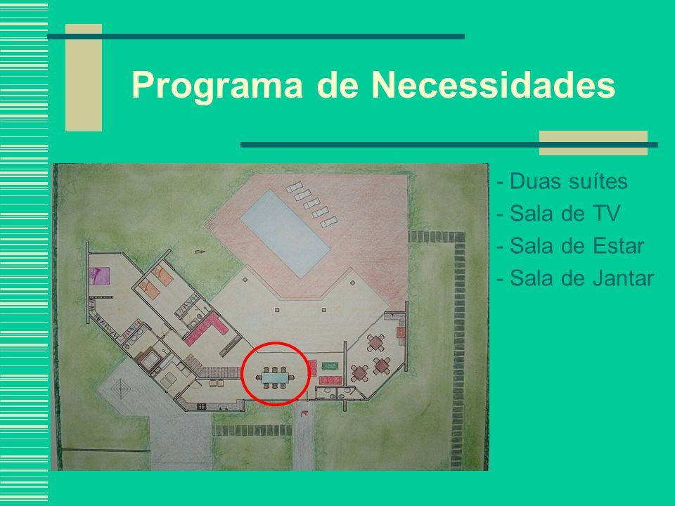 Programa de Necessidades - Duas suítes - Sala de TV - Sala de Estar - Sala de Jantar - Lavabo