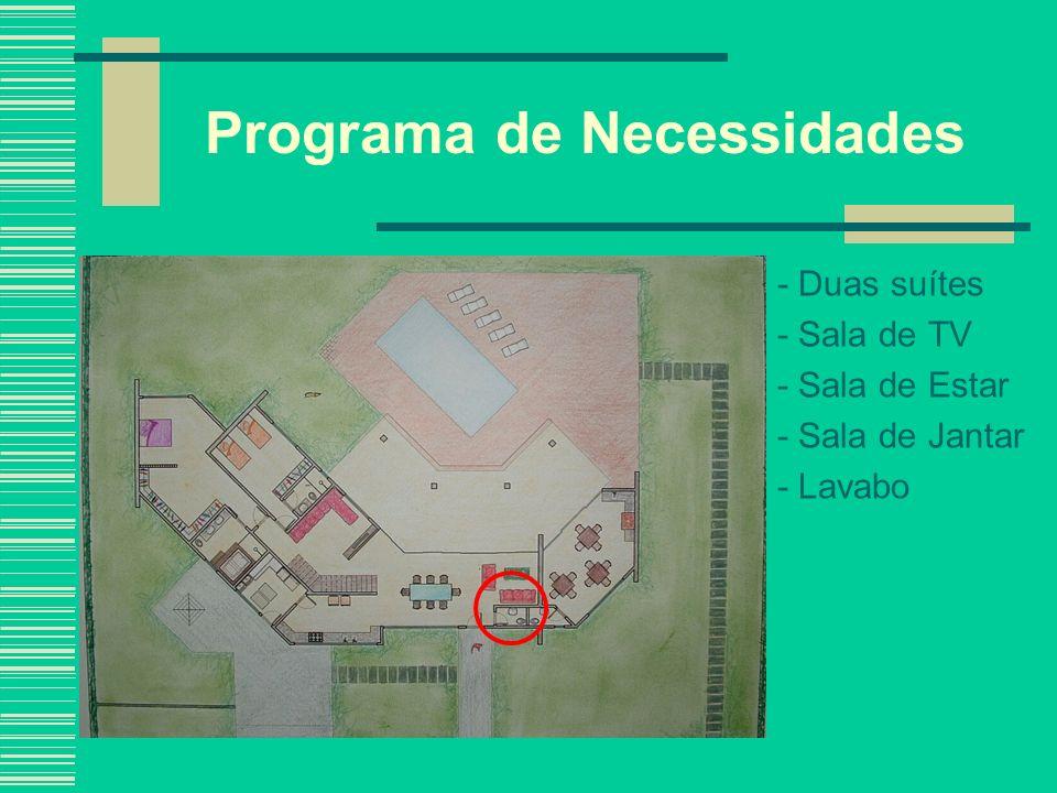 Programa de Necessidades - Duas suítes - Sala de TV - Sala de Estar - Sala de Jantar - Lavabo - Cozinha