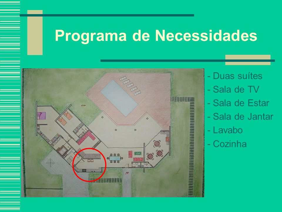 Programa de Necessidades - Duas suítes - Sala de TV - Sala de Estar - Sala de Jantar - Lavabo - Cozinha - Área Serviço