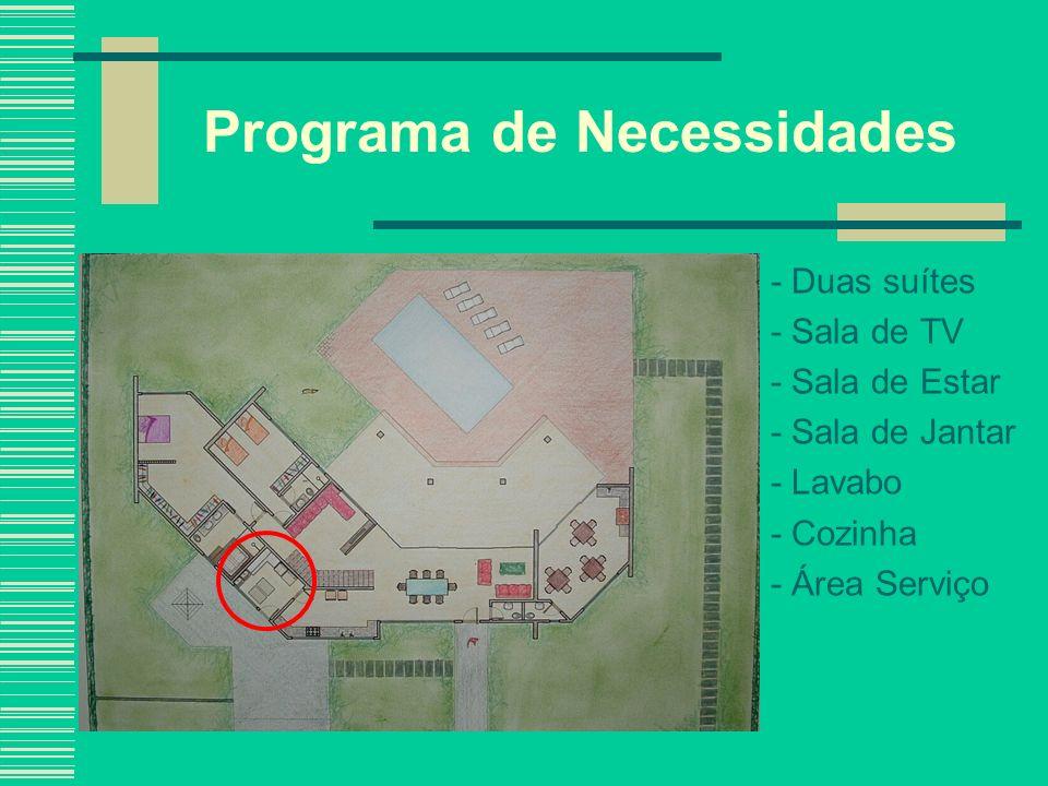 Programa de Necessidades - Duas suítes - Sala de TV - Sala de Estar - Sala de Jantar - Lavabo - Cozinha - Área Serviço - Garagem para dois carros