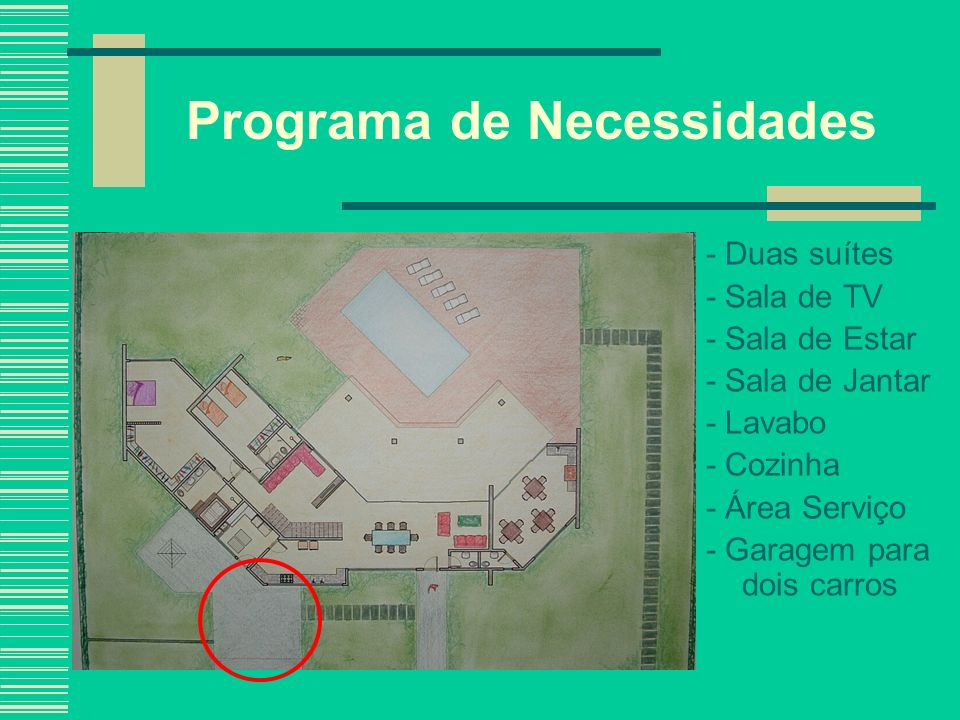 Programa de Necessidades - Duas suítes - Sala de TV - Sala de Estar - Sala de Jantar - Lavabo - Cozinha - Área Serviço - Garagem para dois carros - Salão de Festas com Banheiro