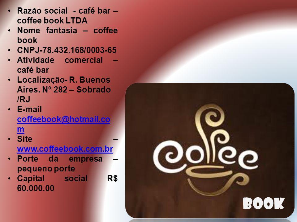Razão social - café bar – coffee book LTDA Nome fantasia – coffee book CNPJ-78.432.168/0003-65 Atividade comercial – café bar Localização- R.
