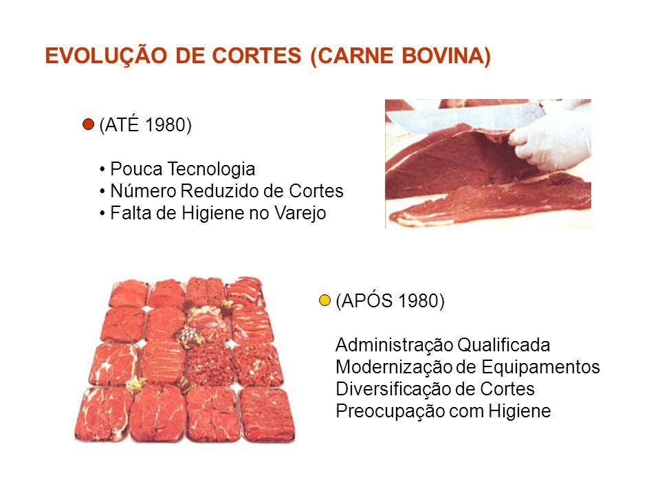 EVOLUÇÃO DE CORTES (CARNE BOVINA) (APÓS 1980) Administração Qualificada Modernização de Equipamentos Diversificação de Cortes Preocupação com Higiene