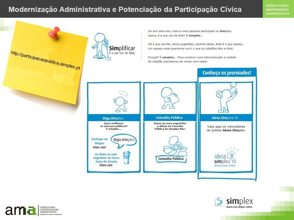 AGÊNCIA PARA A MODERNIZAÇÃO ADMINISTRATIVA Modernização Administrativa e Potenciação da Participação Cívica http://participacaopublica.simplex.pt