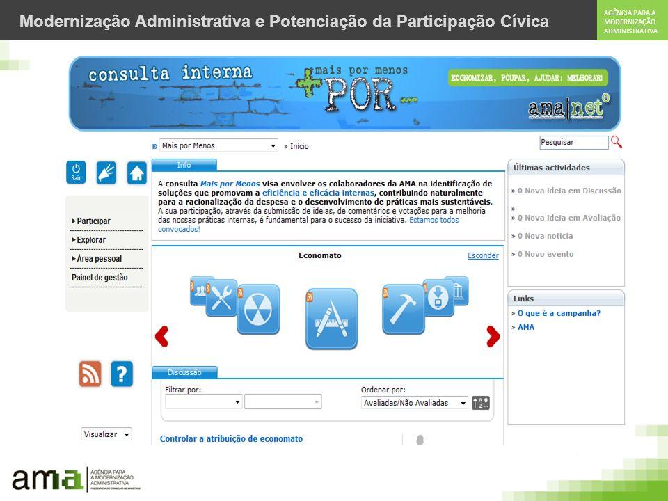 AGÊNCIA PARA A MODERNIZAÇÃO ADMINISTRATIVA Modernização Administrativa e Potenciação da Participação Cívica Plataforma de Participação Pública Integração com: Cartão de Cidadão; Facebook ; Twitter; Google.