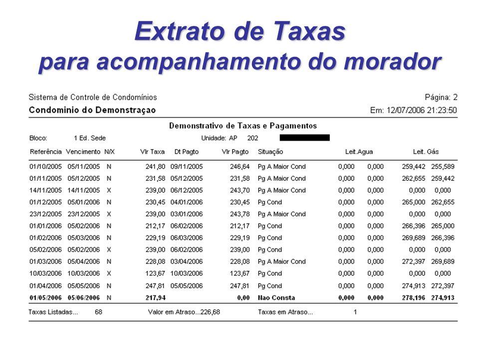 Extrato de Taxas para acompanhamento do morador