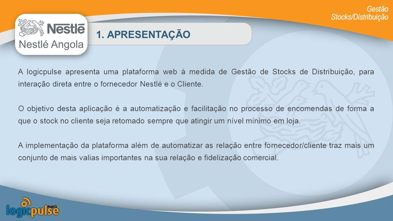 1. APRESENTAÇÃO A logicpulse apresenta uma plataforma web à medida de Gestão de Stocks de Distribuição, para interação direta entre o fornecedor Nestl