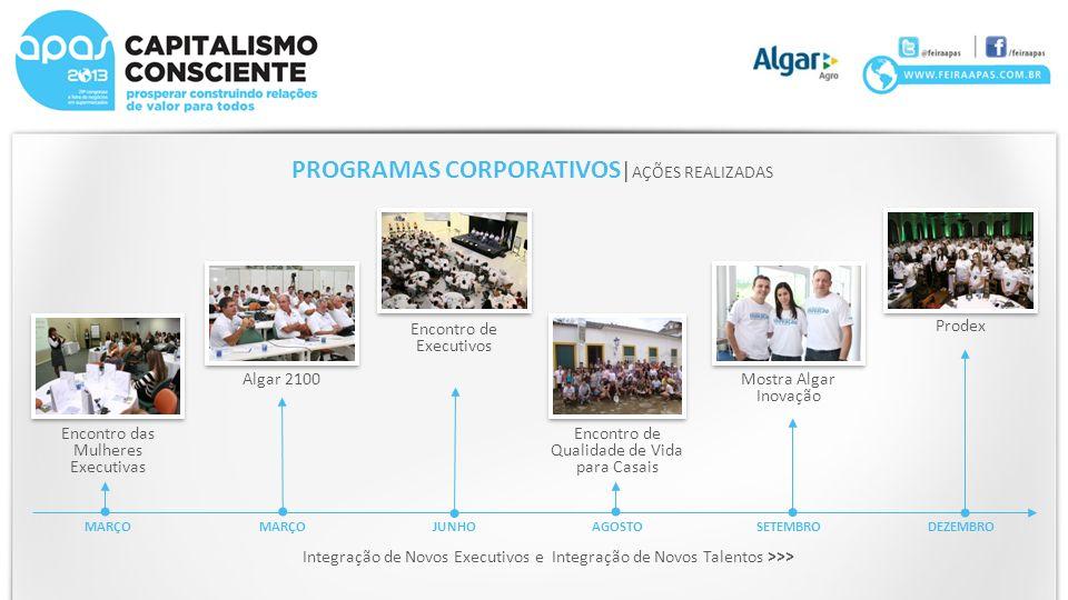 PROGRAMAS CORPORATIVOS | AÇÕES REALIZADAS MARÇO JUNHOAGOSTOSETEMBRODEZEMBRO Integração de Novos Executivos e Integração de Novos Talentos >>> Encontro