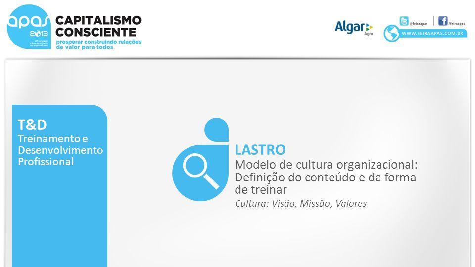 T&D Treinamento e Desenvolvimento Profissional LASTRO Modelo de cultura organizacional: Definição do conteúdo e da forma de treinar Cultura: Visão, Missão, Valores