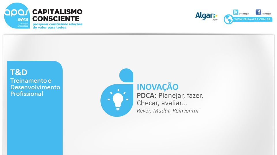 T&D Treinamento e Desenvolvimento Profissional INOVAÇÃO PDCA: Planejar, fazer, Checar, avaliar... Rever, Mudar, Reinventar