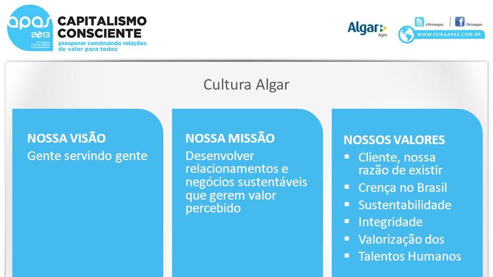 Cultura Algar NOSSA VISÃO Gente servindo gente NOSSA MISSÃO Desenvolver relacionamentos e negócios sustentáveis que gerem valor percebido NOSSOS VALORES Cliente, nossa razão de existir Crença no Brasil Sustentabilidade Integridade Valorização dos Talentos Humanos