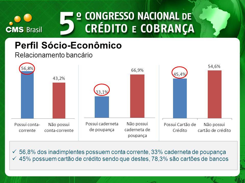 Perfil Sócio-Econômico Relacionamento bancário 56,8% dos inadimplentes possuem conta corrente, 33% caderneta de poupança 45% possuem cartão de crédito
