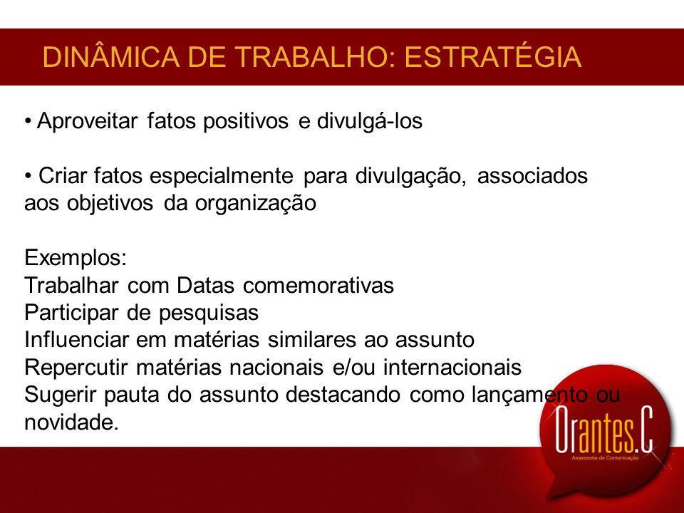 DINÂMICA DE TRABALHO: ESTRATÉGIA Aproveitar fatos positivos e divulgá-los Criar fatos especialmente para divulgação, associados aos objetivos da organ