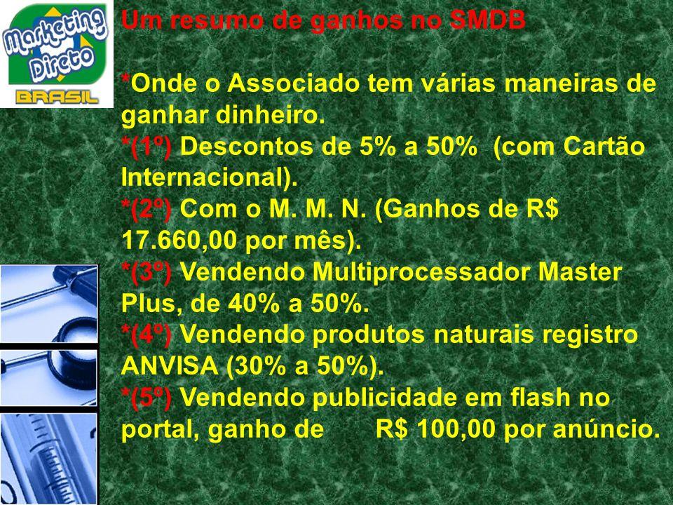 Um resumo de ganhos no SMDB *Onde o Associado tem várias maneiras de ganhar dinheiro. *(1º) Descontos de 5% a 50% (com Cartão Internacional). *(2º) Co
