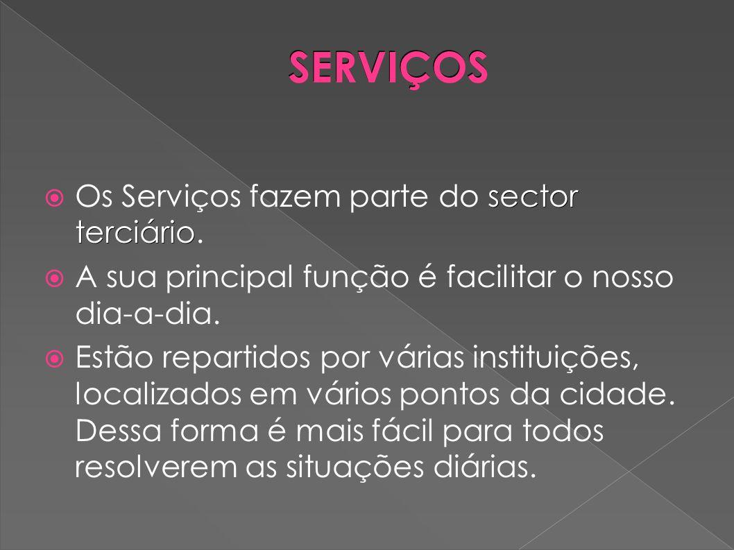 SERVIÇOS sector terciário Os Serviços fazem parte do sector terciário. A sua principal função é facilitar o nosso dia-a-dia. Estão repartidos por vári