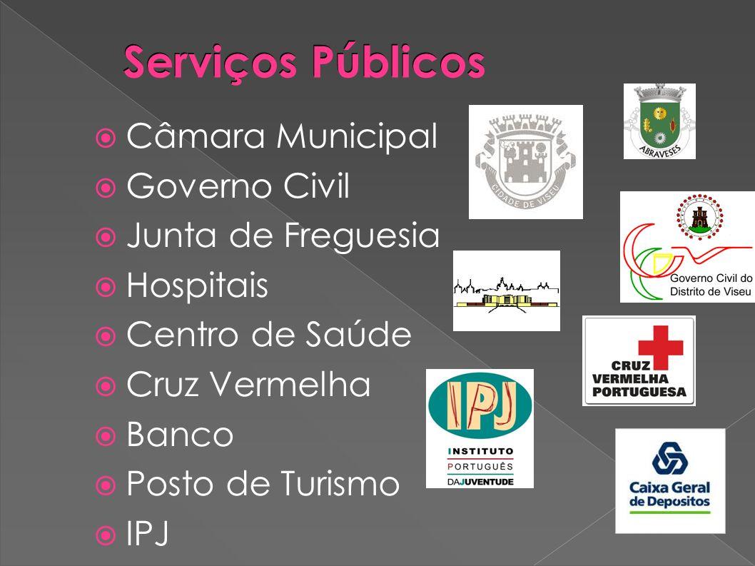 Serviços Públicos Câmara Municipal Governo Civil Junta de Freguesia Hospitais Centro de Saúde Cruz Vermelha Banco Posto de Turismo IPJ