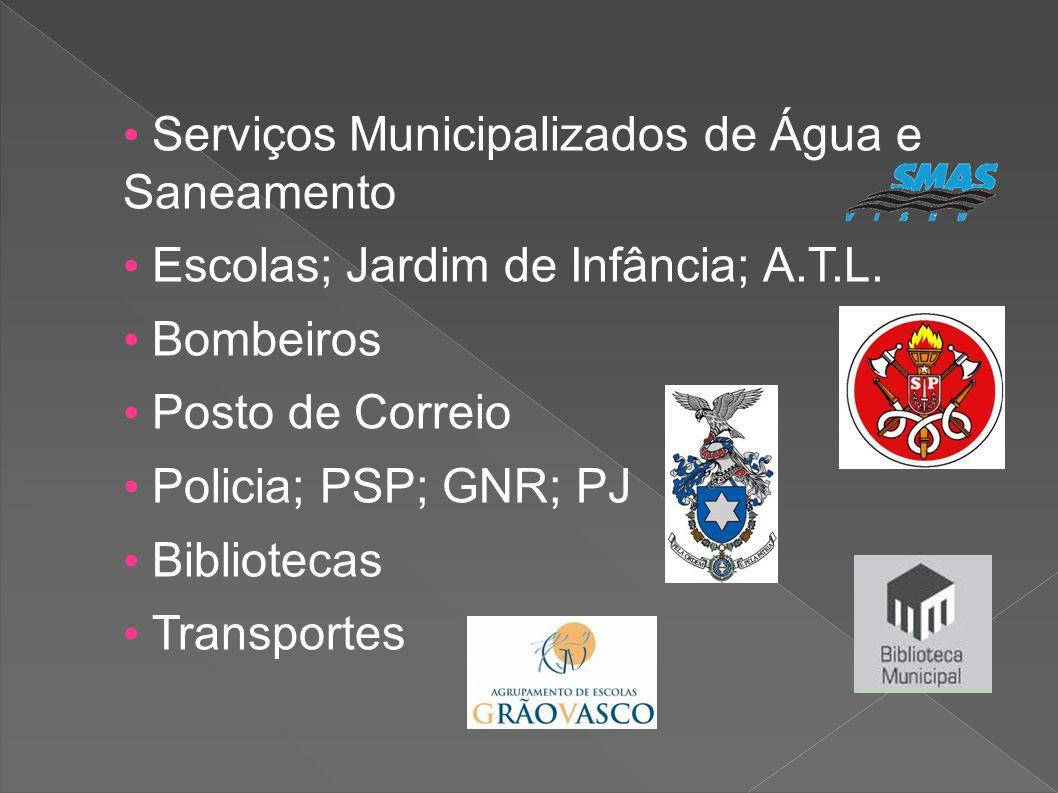 Serviços Municipalizados de Água e Saneamento Escolas; Jardim de Infância; A.T.L. Bombeiros Posto de Correio Policia; PSP; GNR; PJ Bibliotecas Transpo