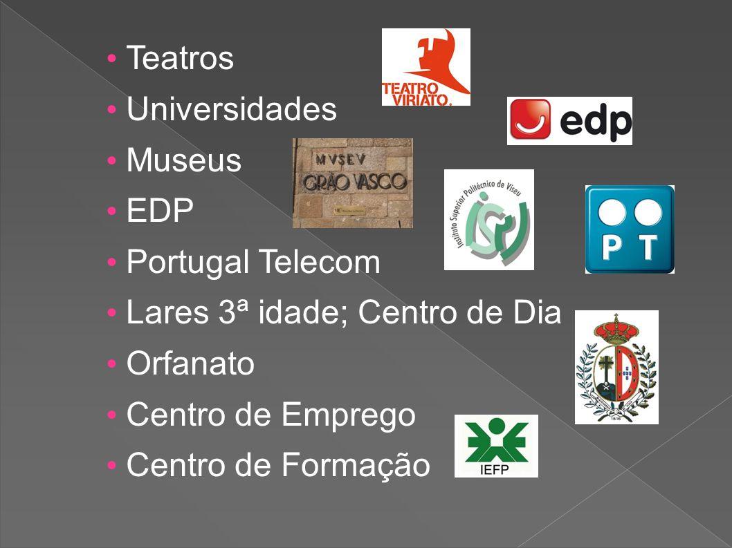 Teatros Universidades Museus EDP Portugal Telecom Lares 3ª idade; Centro de Dia Orfanato Centro de Emprego Centro de Formação