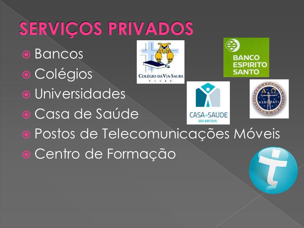 SERVIÇOS PRIVADOS Bancos Colégios Universidades Casa de Saúde Postos de Telecomunicações Móveis Centro de Formação