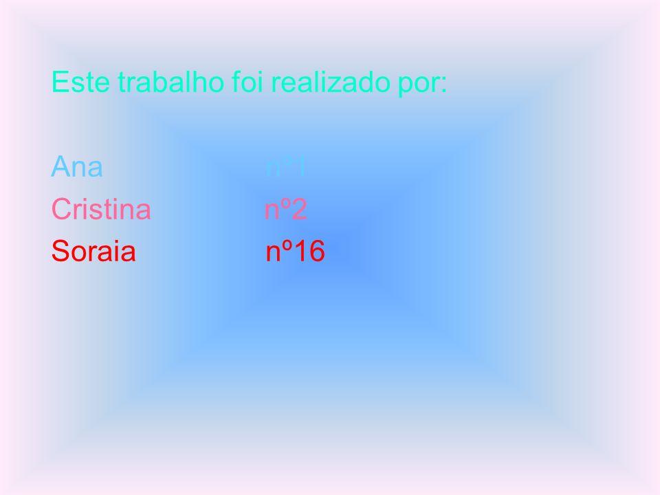 Este trabalho foi realizado por: Ana nº1 Cristina nº2 Soraia nº16